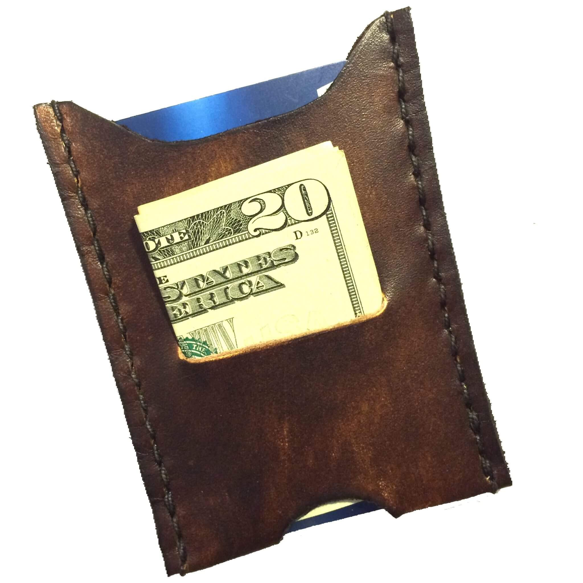 Minimalist Front Pocket Wallet Cash Brown