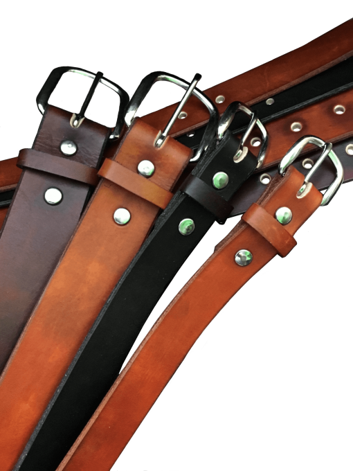 Plain Handcrafted Leather Belts in a Variety of Colors